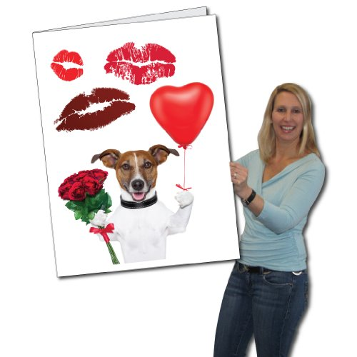 2' x 3' Giant Valentine's Day Card - Dog with Kisses - Envelope Included