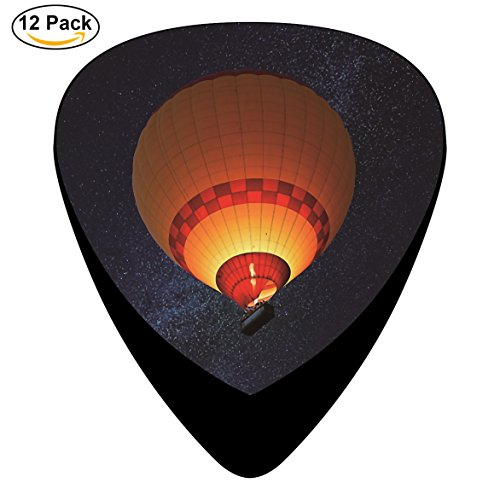 Hot Air Balloon Celluloid Guitar Picks 12 Pack Includes Thin,Medium,Heavy Gauges For Electric Acoustic Guitar