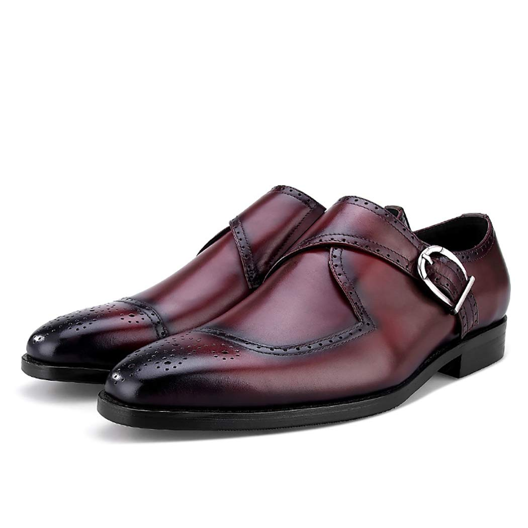 Mens Casual Carved Monk Strap Shoes Footwear with Hand Stitched Leather Classic Formal Dress Shoes Side Buckle Daily Shoes