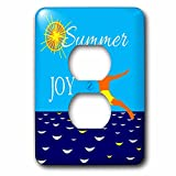 3dRose Alexis Design - Beach, Sea, Surf - Blue sea, clean sky, sun, male cliff jumper in the air, summer joy - Light Switch Covers - 2 plug outlet cover (lsp_283968_6)