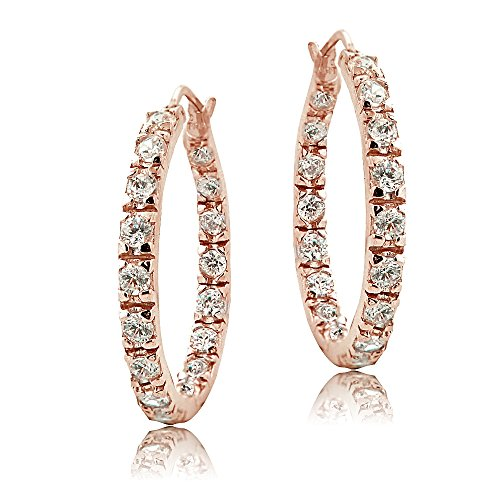 Rose Gold Flashed Sterling Silver Cubic Zirconia Inside Out 25mm Round Hoop Earrings (Round 25 Mm Hoop)