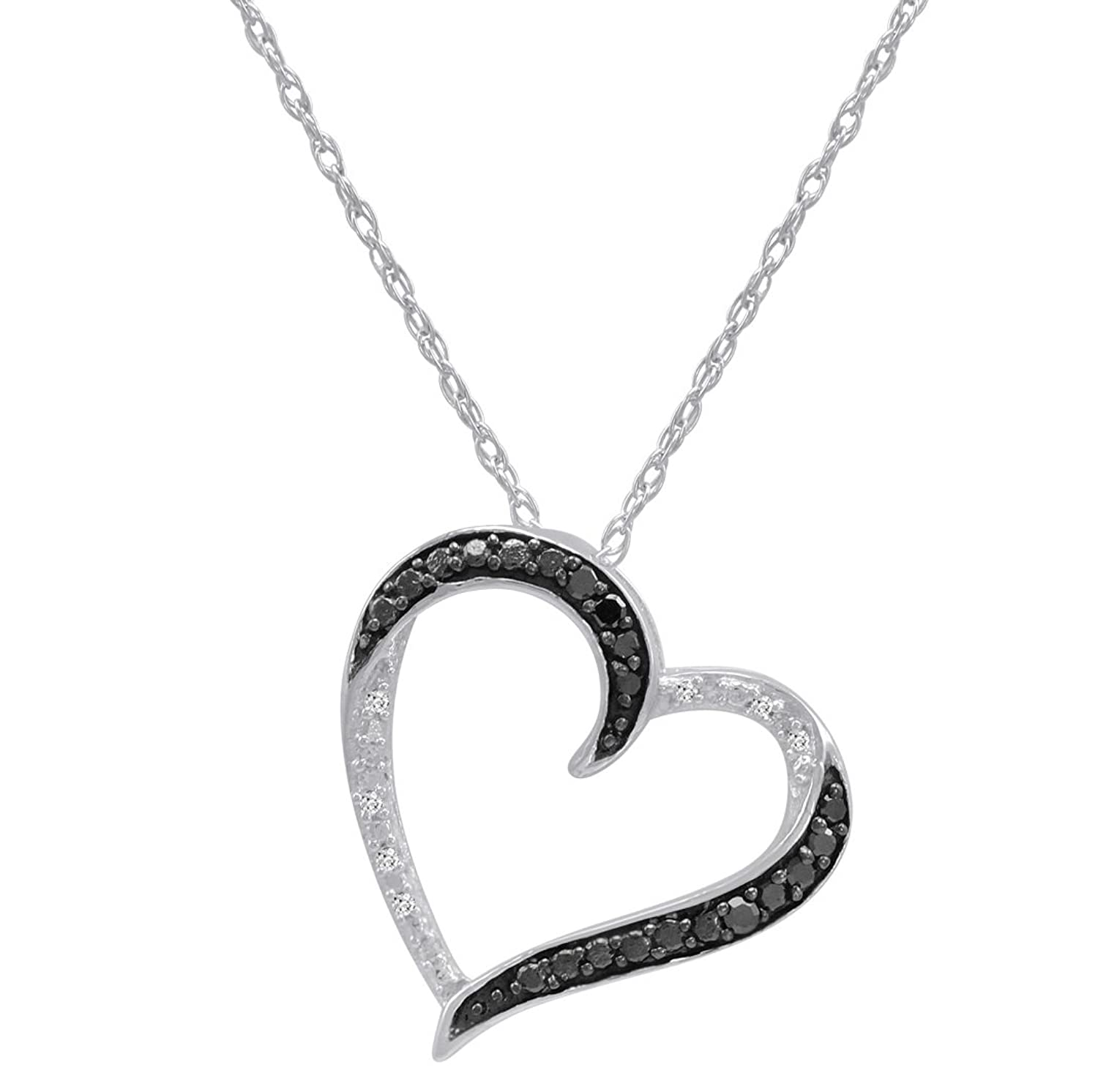 Sterling Silver 1 10ct TW Black and White Round Diamond Heart
