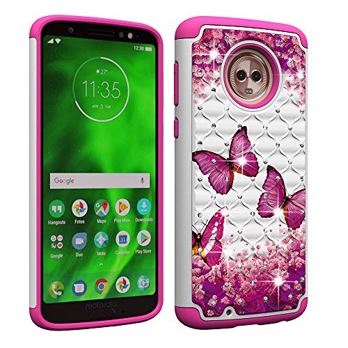 Price comparison product image Berry Accessory Moto G6 Case, Luxury Glitter Sparkle Bling Case, Studded Rhinestone Crystal Hybrid Dual Layer Armor Case for Motorola Moto G6 / Moto G (6th Generation), 5.7 Inch Pink Butterly