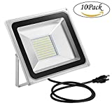 100W LED Flood Light, Oshide Cool White 3-Plug Floodligth, Super Bright Outdoor&Indoor Waterproof Security Light, Landscaping Construction Spot Light Pack of 10