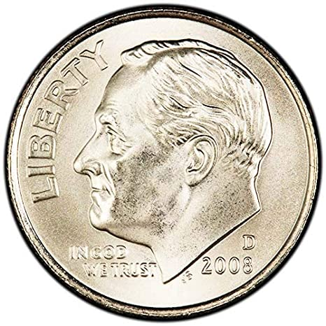Not Satin Finish Hard To Find 2008-P Uncirculated ROOSEVELT DIME Roll