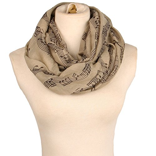 Flyou Fashion Women Scarf Lightweight Scarves Musical Notes Infinity Collar Wraps Shawl
