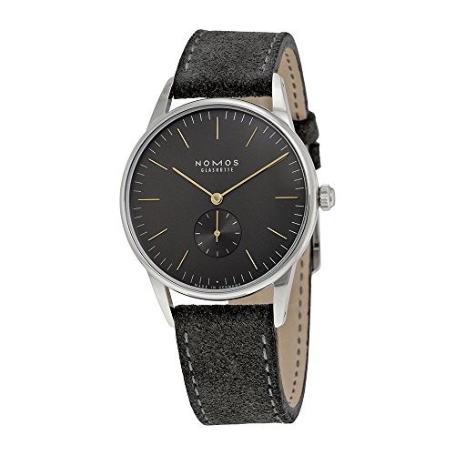 Nomos Orion 1989 Anthracite Dial Velour Leather Strap Mens Watch 385