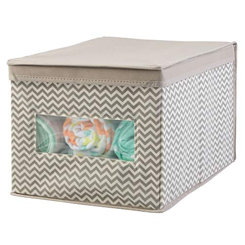 mDesign Decorative Soft Stackable Fabric Closet Storage Organizer Holder Box - Clear Window, Lid, for Child/Kids Room, Nursery - Large, Collapsible Foldable - Chevron Zig-Zag Print - Taupe/Natural