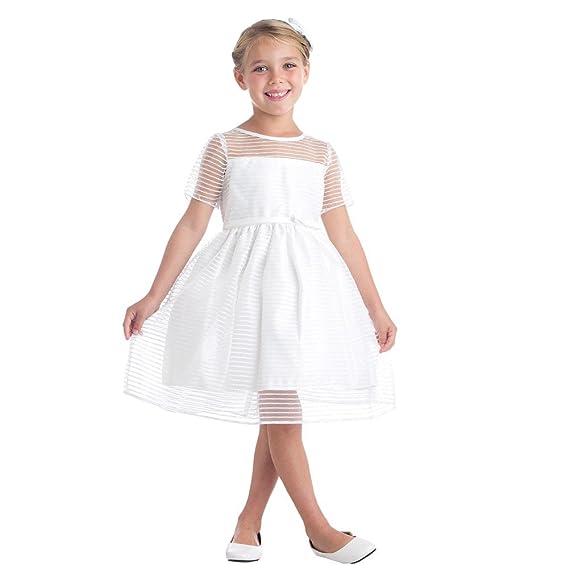 Sweet Kids Little Girls Off-White Stripe Metallic Organza Flower ...