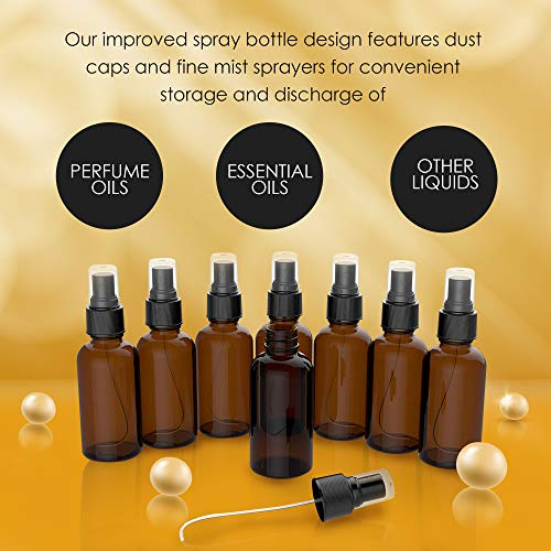 8 Pack Amber Spray Bottles 2oz – THE PERFECT SPRAY – Empty Glass Bottles For Cleaning Solutions – Best Refillable MIST SPRAY Pack Perfume Atomizer 2oz