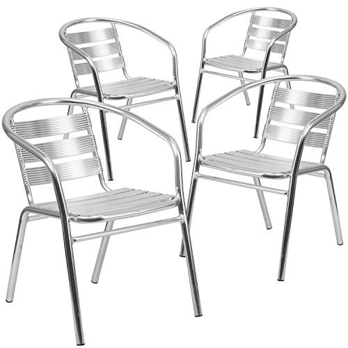 Flash Furniture 4 Pk. Heavy Duty Commercial Aluminum Indoor-Outdoor Restaurant Stack Chair with Triple Slat - Aluminum Arm Chairs