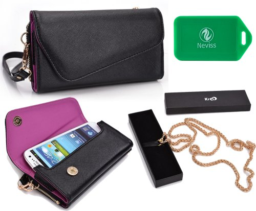 let and phone holder w/a ccrossbody chain- Universal design in Black/Orchid Purple| Universal design fits: Nokia Asha 503 Dual Sim,Asha 503 ()