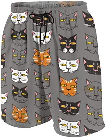 キッズ ビーチパンツ 面白い 猫柄 ネコ サーフパンツ 海パン 水着 海水パンツ ショートパンツ サーフトランクス スポーツパンツ ジュニア 半ズボン ファッション 人気 おしゃれ 子供 青少年 ボーイズ 水陸両用