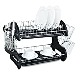 Home Basics Plastic 2-Tier Dish Drainer Rack, Air Drying and Organizing Dishes, Side Mounted Cutlery Holder, Black
