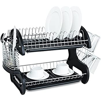 Home Basics Dish Plastic Drainer, 2-Tier, Black