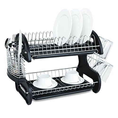 2-Tier Dish Drainer Rack (Black) ()