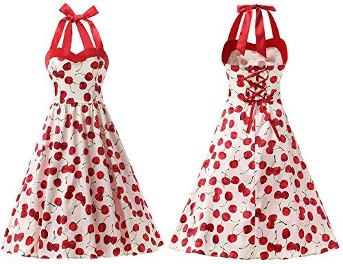 Cherry Dots Polka Rockabilly 50s Retro Cocktail Audrey Dress Dresstells® Halter White 1IqZOWxz
