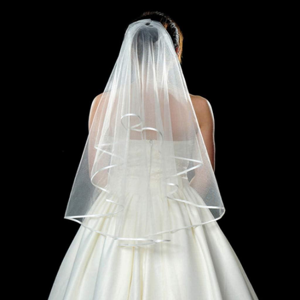 Wei/ß Damen Braut Schleier Satinkante mit Kamm f/ür Hochzeit Junggesellinnenabschied Party