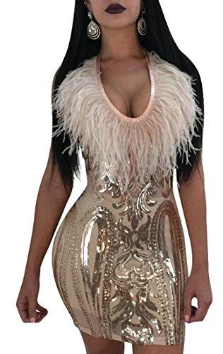 Bodycon Party golden Clubwear Sequin Jaycargogo Women's Sexy Mini Sleeveless Dress xXYqg67g