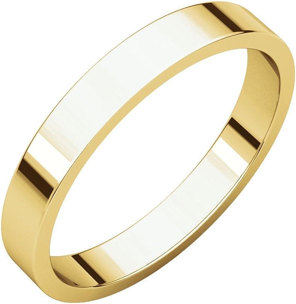 14K Yellow Gold 3mm Flat Band