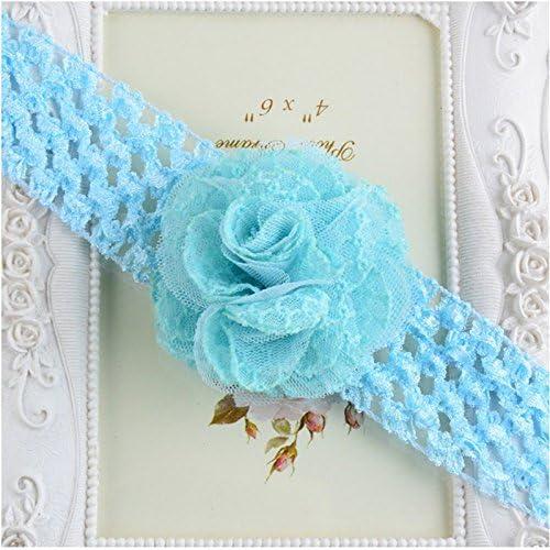 dise/ño de Flores tama/ño M con Encaje Colorido Uesae Diadema el/ástica para beb/é con Lazo de Encaje Suave y sin transpiraci/ón Color Rosered