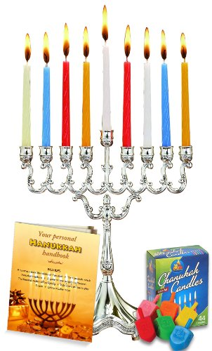 Complete Hanukkah Menorah Set! Menorah - Candles - Dreidels - Candle Magic Stick - Hanukkah Handbook