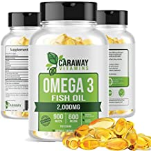 Omega 3 Fish Oil Pills 2000mg, Pharmaceutical Grade Softgels Containing 900mg EPA + 600mg DHA. Burpless Capsules with No Fishy Aftertaste. All Natural, Organic, Non GMO, Gluten Free for Men & Women.
