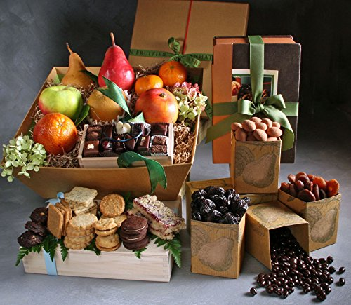 Clayton Large Fruit, Sweets, and Baked Goods Gift by Manhattan Fruitier with 9 Pieces Seasonal Fresh Fruit, Assortment Pack of 5 Dried fruit & Nuts, Tea Cookies, and Chocolate Bonbons