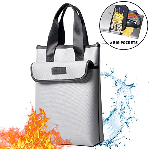 Rusuer Fireproof Bag 2 Pockets Fireproof Document Bags Safe Silicone Coated Water & Fire Resistant Briefcase Large Storage Zipper Closure for Money, Documents, Jewelry and Passport 15