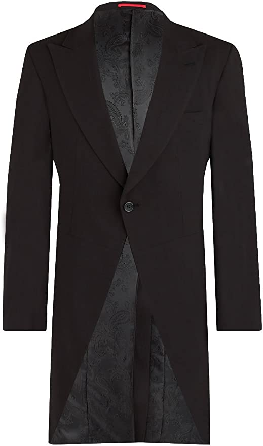 1920s Men's Fashion UK | Peaky Blinders Clothing Dobell Mens Black Morning Suit Tailcoat Regular Fit 100% Wool Peak Lapel Herringbone Detail Classic Wedding Jacket £179.99 AT vintagedancer.com