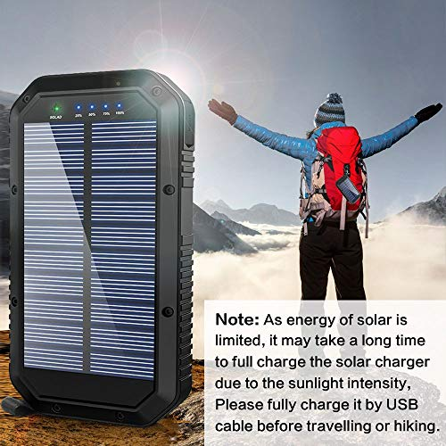 51fa0AAe93L - Solar Charger, 25000mAh Battery Solar Power Bank Portable Panel Charger with 36 LEDs and 3 USB Output Ports External Backup Battery for Camping Outdoor for iOS Android