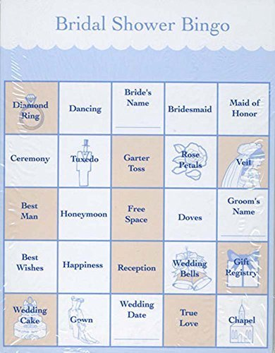 Victoria Lynn Bridal Shower Party Games - Bingo Cards for 48 Guests - 2 Pack - Easy to Play - Fun for Everyone,Blue and Peach ()