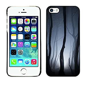 Design for Girls Plastic Cover Case FOR iPhone 5 / 5S Spooky Forest Lights Grey Night Scary OBBA