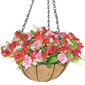 IBEUTES 7.8 inch Artificial Hanging Flower Artificial Rose Vine Silk Flower Garland Hanging Baskets Plants Home Outdoor Wedding Arch Garden Wall Decor Indoor Outdoor 20cm 8