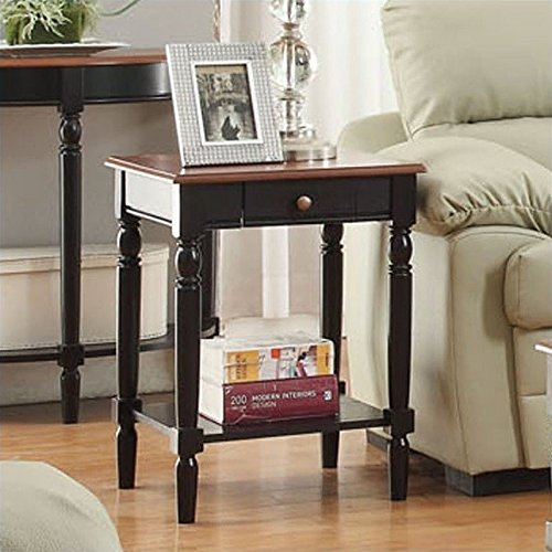 cherry end tables living room. Convenience Concepts French Country End Table with Drawer and Shelf  Cherry Tables Living Room Amazon com