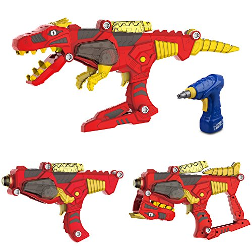 Freebex Kid's 17 pc Lights & Sound Dinobots Super Dino Charge Morpher --Super Transformation set Toys Gun With Electric Drill,kid's Birthday Gift