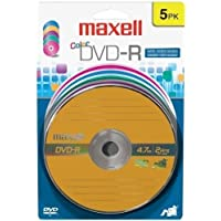 MAXELL 5PK MAXELL DVD-R COLOR 16X BLIS CARD / 638033 /