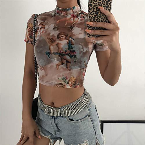 Malbaba Women Fashion Casual Short Sleeve Turtleneck Print Short Tops T-Shirt Blouse by Malbaba Women Blouse (Image #1)