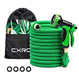CXRCY Expandable Garden Hoses, Double Latex cores 3 Times expanded car wash Hoses, 3/4 inch Solid Brass Joints, Extra-Strength Fabrics - Flexible Expansion Metal Hose with 10 Features … (50FT)