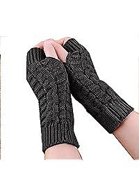 Becoler Women's Knitted Crochet Knitting Wool Mitten Gloves Fingerless Gloves