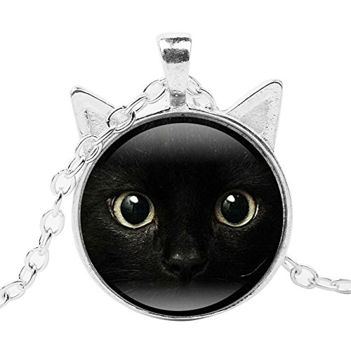 (Necklace Opeof Black Cat Face Sweater Chain Women Vintage Cabochon Glass Pendant Necklace Gift - Silver)