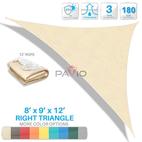 Patio Paradise 8'x9'x12' Beige Sun Shade Sail Right Triangle Canopy - Permeable UV Block Fabric Durable Patio Outdoor - Customized Available by Patio Paradise