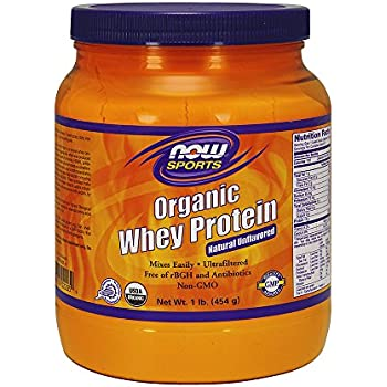 NOW Sports Organic Whey Protein Natural Unflavored,1-Pound