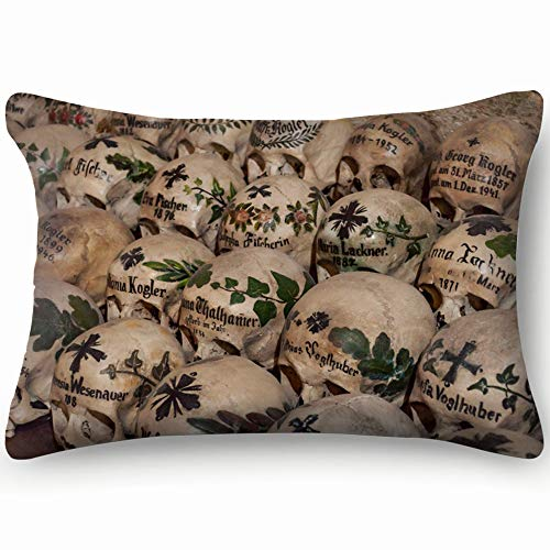 best bags Hallstatt Austria 2 Apr 2018 Skulls Objects 19Th Century Religion Skin Cool Super Soft and Luxury Pillow Cases Covers Sofa Bed Throw Pillow Cover with Envelope Closure 1624 ()