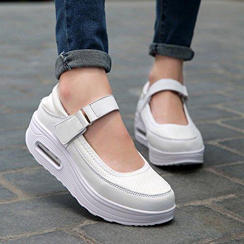 Xmeden Marche Femmes Ups Hauteur Chaussures Fitness augmenter Shape Mesh Pu Strap De Plateforme Blanc Sneaker SSqOwd