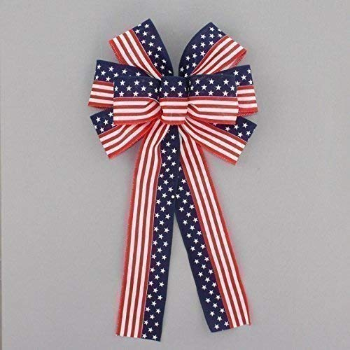 Stars and Stripes Flag Patriotic Bow - 9 inches wide