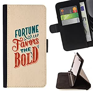 For Apple Iphone 5 / 5S Fortune Favors The Bold Red Teal Inspiring Leather Foilo Wallet Cover Case with Magnetic Closure
