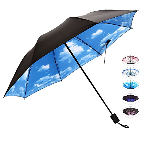 Compact Travel Umbrella for Women Vinyl Anti-UV Long Stick Lightweight Starry and Blossom Parasol for Sun and Rain Gift Choice Bule Sky J&B - For Protection Sunglasses Uv Is Good What A