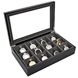 Pocket Watch Box Display Case Wood Large Compartments Glass Window (Black)
