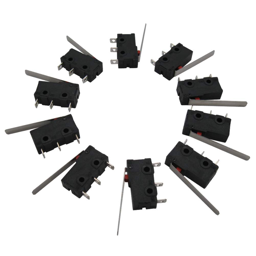 Twidec /10Pcs 5A 125 250V AC SPDT 1NO 1NC Long Straight Hinge Lever Arm Switch Snap Action Button Type 3 Pins Mini Micro Limit Switch KW11-3Z03